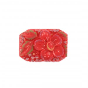 Rectangular painted cabochon with embossed flower, coral 34x23 mm