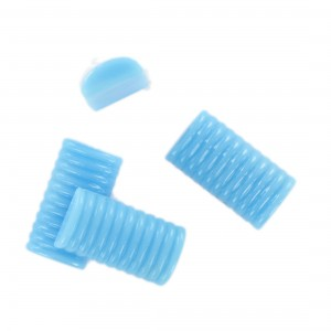 Rectangular striped cabochon, blue 22x12 mm