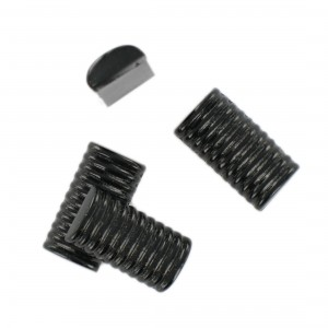 Rectangular striped cabochon, black 22x12 mm