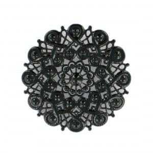 Round perforated brooch, black 43 mm