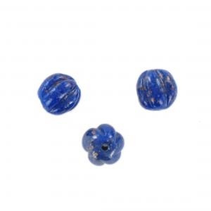 Melon shaped bead, lapis lazuli 12 mm