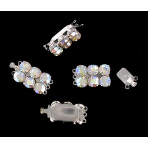 Nickel plated fastener three raws with iridescent stones, 17x11 mm