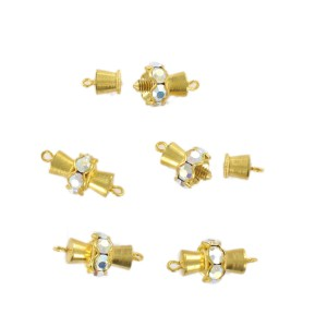 Gilded screw fastener one raw with iridescent stones, 16x10 mm