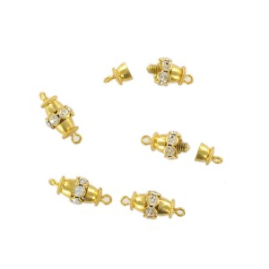 Gilded screw fastener one raw with crystal stones, 12x8 mm