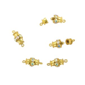 Gilded screw fastener one raw with iridescent stones, 12x8 mm