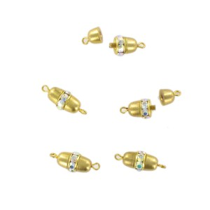 Gilded screw fastener one raw with iridescent stones, 13x7 mm