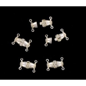 Silvered screw fastener two raws with crystal stones, 14x7 mm