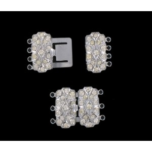 Nickel plated fastener four raws with crystal stones, 20x22 mm