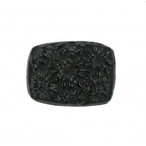 Barrel shaped cabochon with embossed flowers, black 36x27 mm