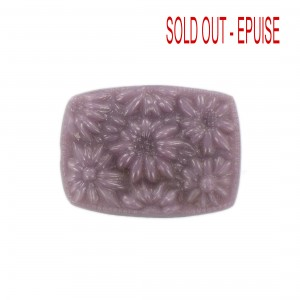 Barrel shaped cabochon with embossed flowers, purple 36x27 mm