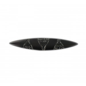 Navette shaped brooch, black 54x10 mm