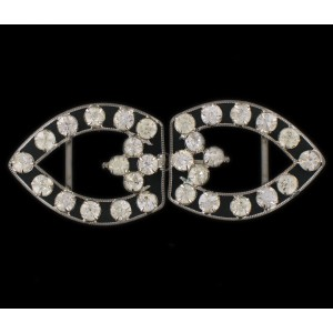 Buckle with crystal stones, 68x27 mm