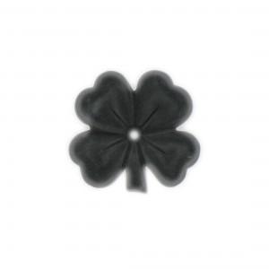Matt four leaf clover with one hole , black 30 mm