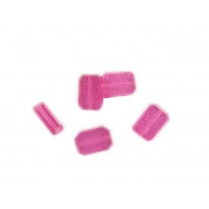 Octagonal bead with engraved arabesques on 2 faces, rose 12x8 mm