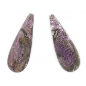 Flat pendant with silver leaf decoration, blind hole, amethyst 51x18 mm