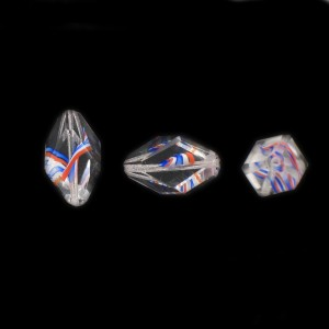 Cut facets olive, striations pattern, crystal and blue white orange 18x9 mm