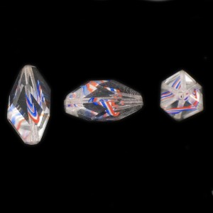 Cut facets olive, striations pattern, crystal and blue, white, orange 24x11 mm