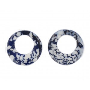 Ring, blue speckled and white 26 mm