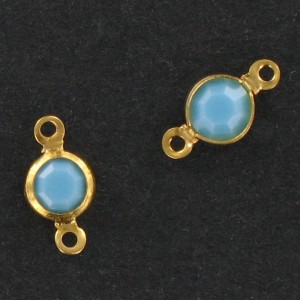 Channel with Swarovski stone, turquoise 9x5 mm