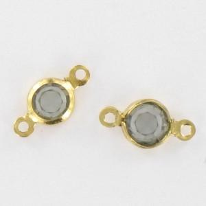 Channel with Swarovski stone, black diamond 9x5 mm