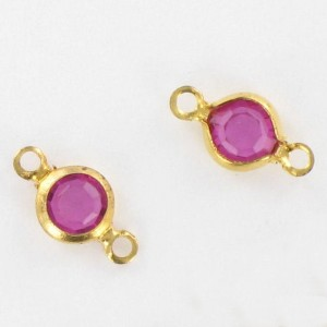Channel with Swarovski stone, fuchsia 9x5 mm