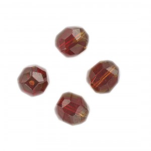 Faceted bead, ruby and topaz 14x12 mm