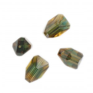 Faceted bead, topaz and emerald 17x10 mm