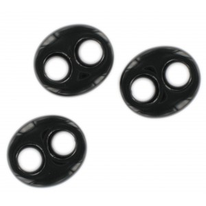 Oval flat trimming 2 holes, black 29x25 mm