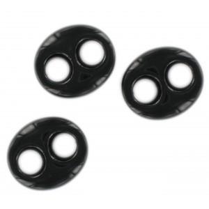 Motif ovale plat 2 trous, noir 29x25 mm