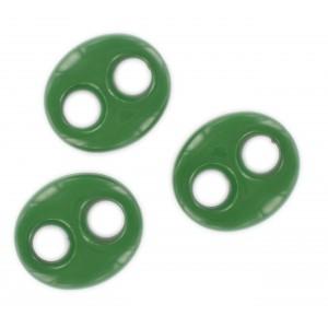Motif ovale plat 2 trous, vert foncé 29x25 mm