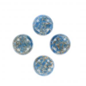 Cabochon rond moucheté, marbré blanc et bleu foncé 15 mm