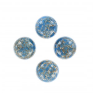 Round spotted cabochon, marbled white and dark blue 15 mm