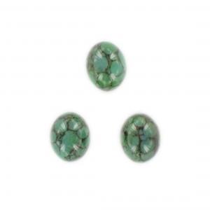 Cabochon ovale, vert et noir veiné 15x12 mm