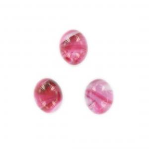 Cabochon ovale, rose et blanc veiné 15x12 mm