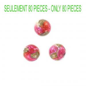 Cabochon rond volcanique, rose et couleur marbrée 12 mm
