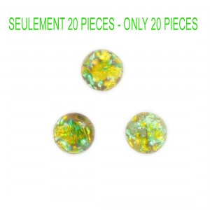 Round cabochon with silver, topaz and green 12 mm