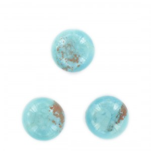 Round cabochon, turquoise and brown speckled 18 mm