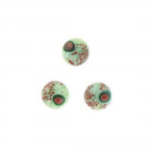 Cabochon rond vert , tacheté vert foncé et rouge 11 mm