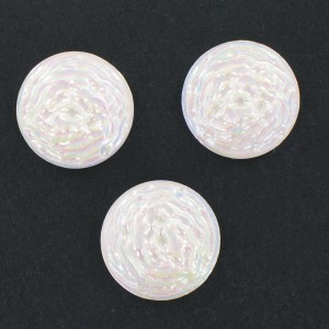 Round cabochon, white iridescent 22 mm