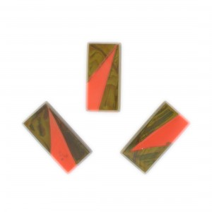 Two tone rectangle, khaki and orange 20x10 mm