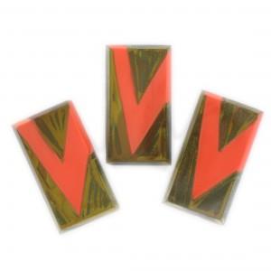 Two tone rectangle, khaki and orange 27x10 mm