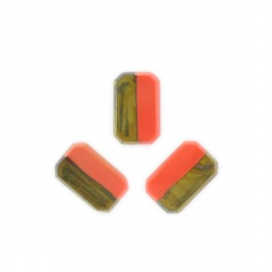 Two tone octagon, khaki and orange 17x11 mm