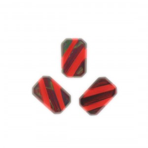 Two tone octagon, brown and red 17x11 mm