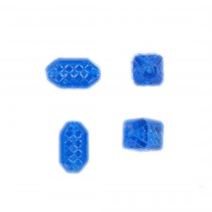 Rhomb bead with embossed geometrical pattern four facets, dark aquamarine 16x9 mm