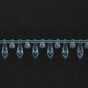Banding with faceted plastic pendants on cotton thread, aquamarine