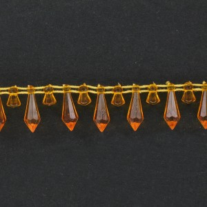 Banding with faceted plastic pendants on cotton thread, orange