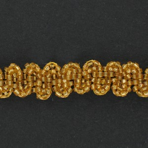 Gilded banding with glass tubes, waves pattern on cotton thread