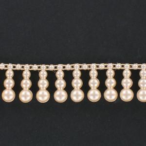 Galon avec 3 perles pendantes en plastique sur fil coton, nacré créme