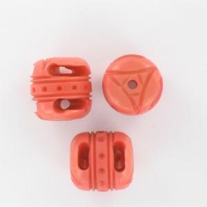 Perle tonneau avec motifs en relief, orange 17x18 mm