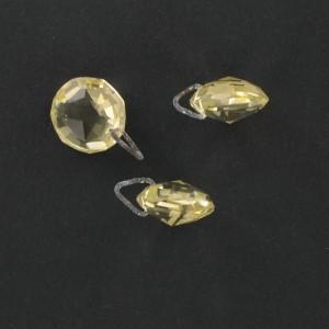 Pierre taillée à l'identique des 2 côtés, 1 trou décentré, jonquille 14 mm